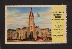 TX Travis Park Methodist Church San Antonio Texas Linen Postcard