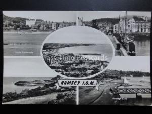 Isle of Man RAMSEY 5 Image Multiview c1950's RP - Old Postcard