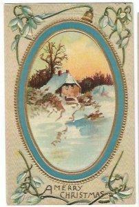 Vintage Postcard Winter Scene Christmas Greetings 1910