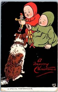 Vintage CHRISTMAS Postcard Children / Dolls & Dog TUCK'S Ancient Youngsters 1910