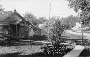 Spicer Minnesota~Cottage (Log Cabin) on Green Lake~Birdhouse by Walkway~30s RPPC