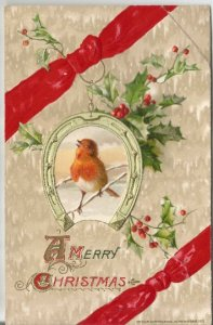 Snowbird Singing on Branch Framed by Horseshoe Holly Leaves Holly Berries Vintag