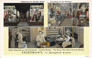 LPN99 Newark New Jersey Advertising Postcard Friedman's Music Shop Views