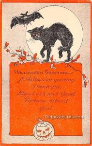 Halloween Post Card Old Vintage Antique Artist FA Own Unused