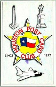 1977 Houston, Texas Postcard Houston POST Card CLUB Logo / Space Shuttle
