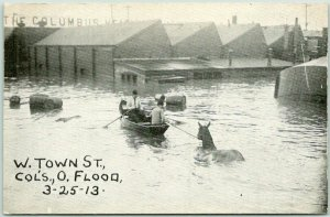 1913 Columbus Ohio Postcard FLOOD SCENE Boat Horse Street Scene Disaster Unused