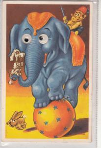 Funny Moving Eyes Mechanical postcard circus actrobat elephant monkey dog rabbit