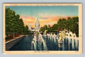 1939 New York World's Fair - George Washington Statue - Cancelled Postcard