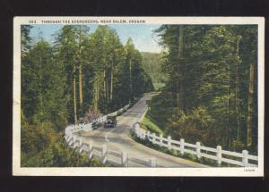 SALEM OREGON THROUGH THE EVERGREEN TREES OLD CAR VINTAGE POSTCARD