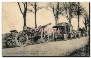 Old Postcard Army of One & # 39artillere heavy battery visiting the near Verd...