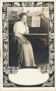 Beautiful Woman Pianist Playiny the Hits of the Day Postcard