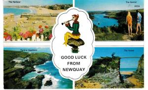 postcard Cornwall NEWQUAY, GOOD LUCK FROM  Harvey Barton posted 1975