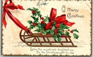 Vintage Artist-Signed CLAPSADDLE Christmas Sled Holly Red Bow 1907 Cancel