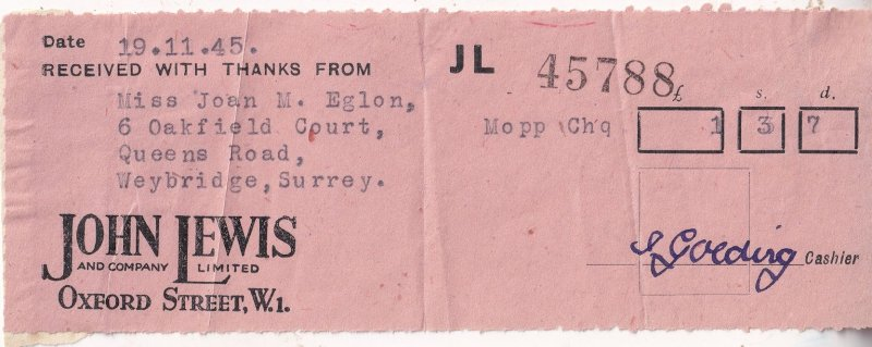 John Lewis Oxford Street London Department Store WW2 Receipt