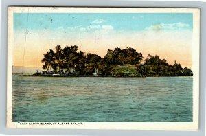 St Albans Bay VT-Vermont, Lazy Lady Island, Vintage Postcard