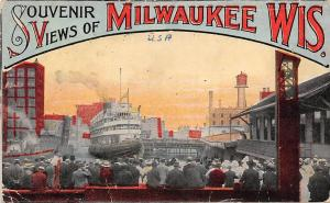 Wis. Souvenir with Views of Milwaukee, ship arrival