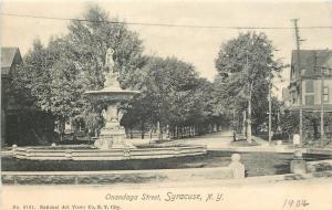 Syracuse New York~Onandaga Street Fountain~Homes~1904 B&W Rotograph Postcard