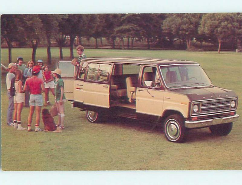 Unused 1970's car dealer ad postcard FORD ECONOLINE CHATEAU