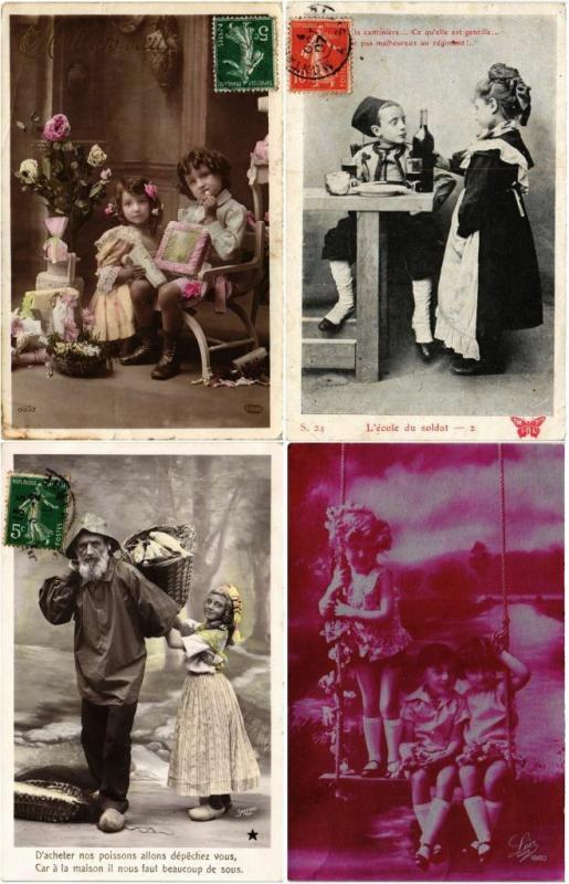 GLAMOUR REAL PHOTO  CHILDREN FILLES GARCONS ENFANTS 94 CPA pre-1940 (L2772)