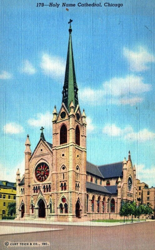 Holy Name Cathedral Posted Church Chicago Illinois Vintage Linen Post Card