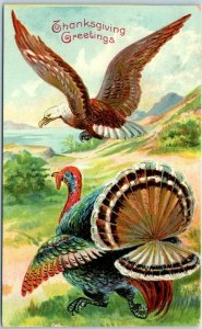 Vintage THANKSGIVING Postcard Proud Bald Eagle Flying over Turkey - 1909 Cancel