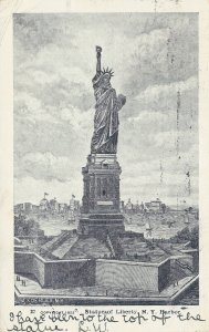 Statue of Liberty, New York Harbor, New York, Very Early Postcard, Used in 1906
