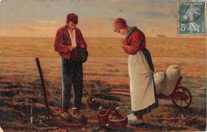 C0373 Agriculture Working  peasants praying postcard painting