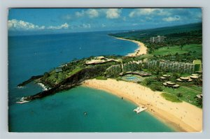 Maui HI, Aerial View Kaanapali Beach Sheraton Hotel Chrome Hawaii c1981 Postcard