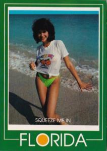Florida Risque Semi Nude Beautiful Girl On The Beach Wearing Bikini Squeeze M...