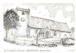 Art Sketch Postcard St Leonards Church, Grateley, Hampshire by Don Vincent AS1