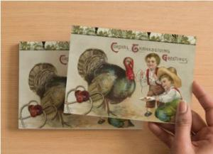 Handmade Postcard Set of 6 Kids Teasing Tom Turkey Thanksgiving Greeting Card