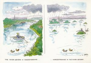 Rowing Boat On The River Severn Worcester Comic Humour Postcard