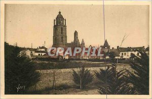 Old Postcard Batz Loire Inferieure General view towards the Church and the Ch...