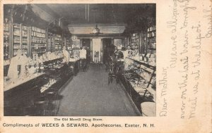 LPS60 Exeter New Hampshire Old Merrill Drug Store Interior View Postcard