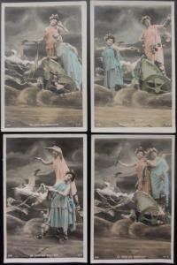 French Set of 4 LA VOIE DU BONHEUR - The Way To Happiness c1905 UB - by S.I.P