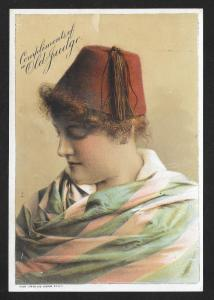 VICTORIAN TRADE CARD Old Judge Cigarettes Lady in Red Hat with Tassle