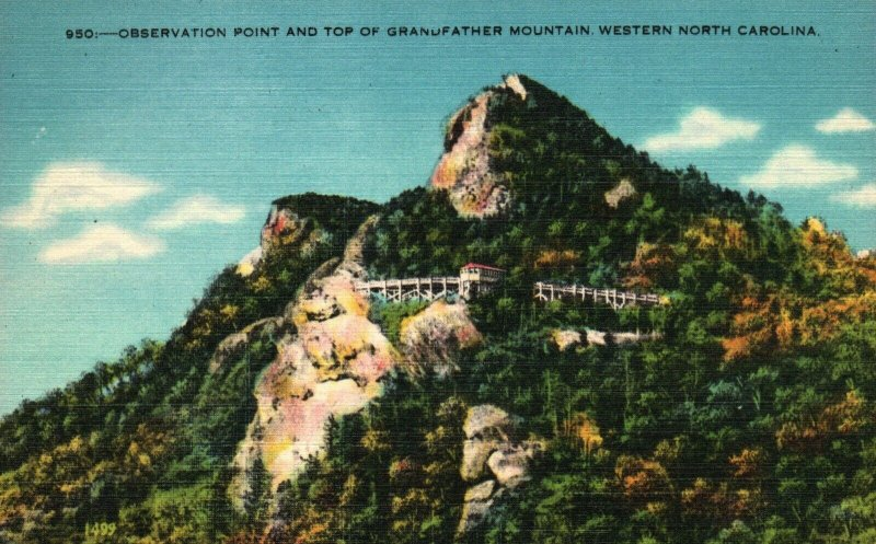 Grandfather Mountain, NC, Observation Point, Linen Vintage Postcard g8537