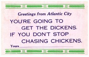 16688 NJ Atlantic City  Greetings Humour Chasing Chickens