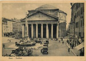 Italy Roma Rome Pantheon 1936 postcard automobiles classic cars animated streets