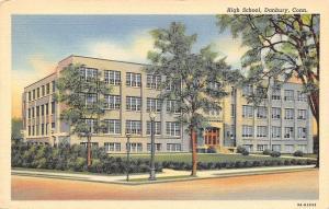 Danbury Connecticut~High School~Lamp Post on Corner~1939 Linen Postcard