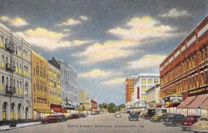 Meridian Mississippi Fifth Street scene Historic Bldgs Antique Postcard K51199