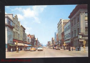 RACINE WISCONSIN DOWNTOWN MAIN STREET SCENE VINTAGE POSTCARD 1950's CARS