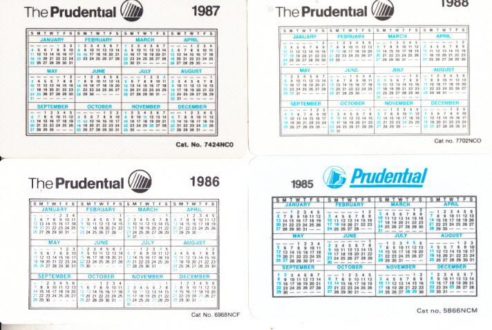 Prudential Insurance Pocket Calendars Old Time Girl Portrait