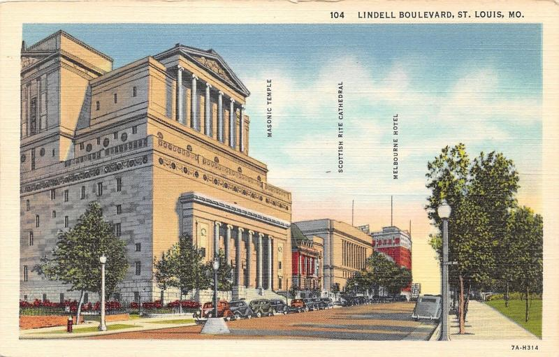 St Louis Missouri~Lindell Boulevard~Masonic Temple-Scottish Rite Cathedral-Hotel