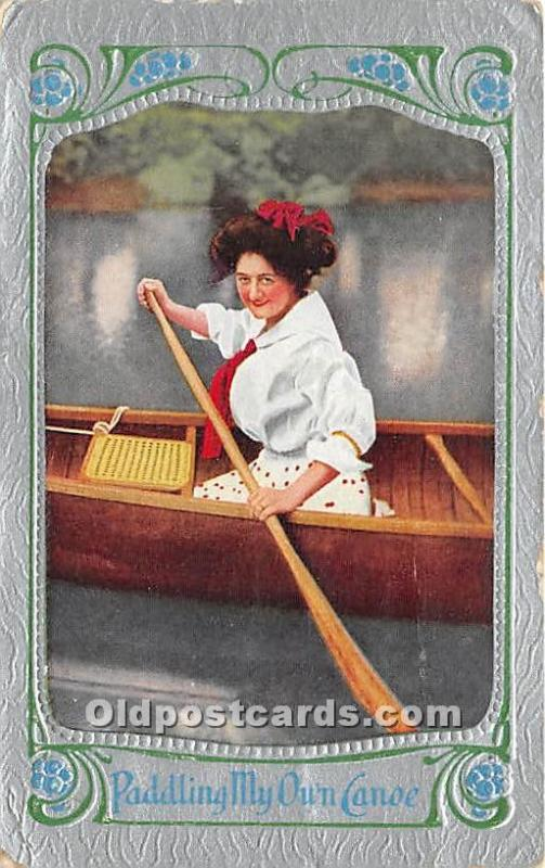 Old Vintage Rowing Postcard Post Card Paddling my Own Canoe 1912