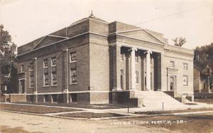 Perry Iowa~First Methodist Episcopal ME Church Corner~House~Dirt Road~1915 RPPC
