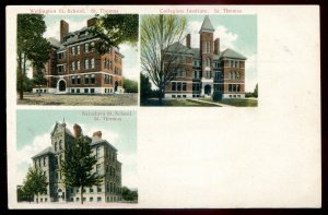 dc1592 - ST. THOMAS Ontario Postcard 1910s Multiview Schools