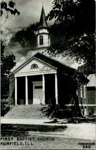 Vtg Postcard 1940s RPPC First Baptist Church - Fairfield IL Illinois - Unused