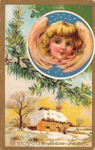 New Year Greetings Cherub Angel Winter Landscape Vintage Postcard JA455848