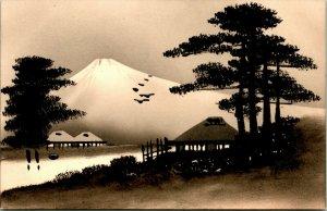 Vintage Cartolina Originale Arte Circa 1900-1910 Carte Postale Mt.Fuji Giappone